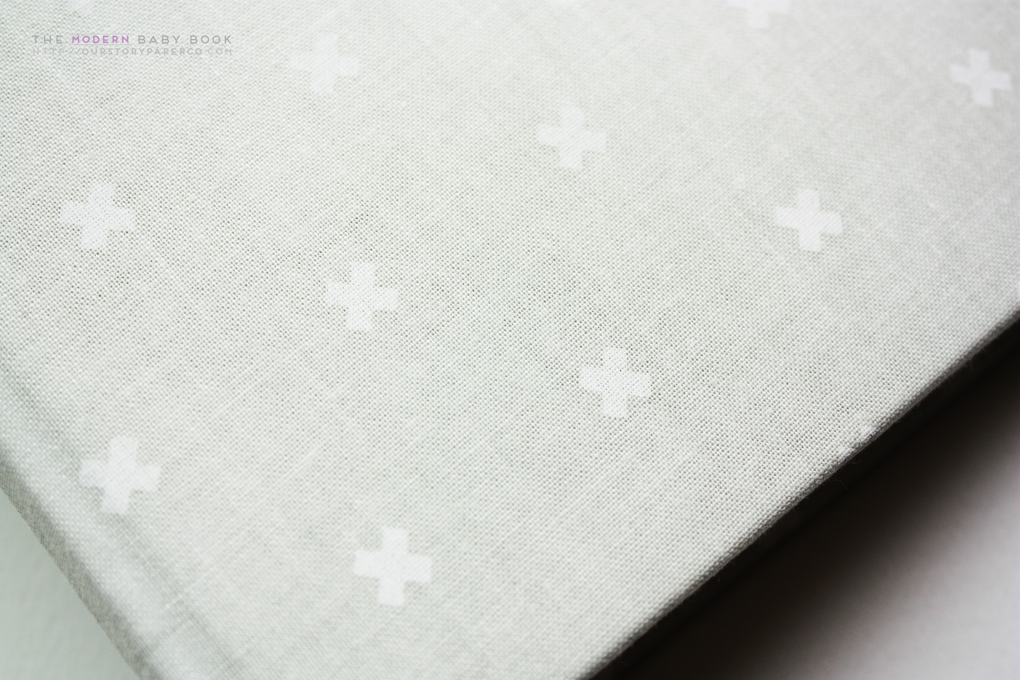 Natural Beige Criss Cross  Modern Baby Book - Our Story Paper Co.