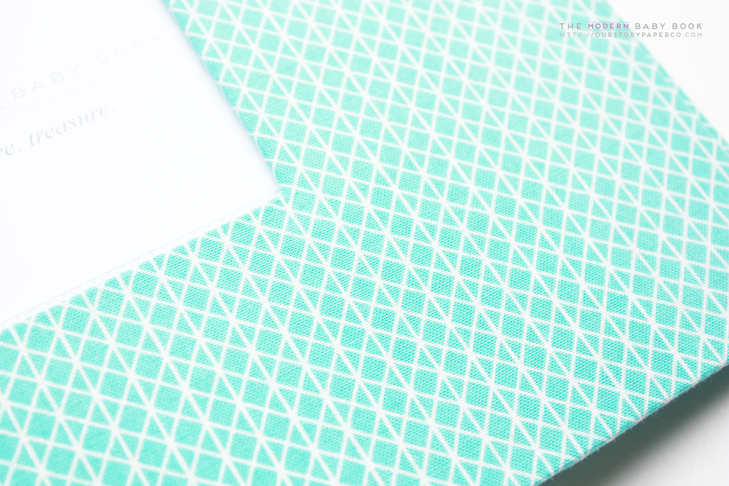 Mint Green Diamond Cross  Modern Baby Book
