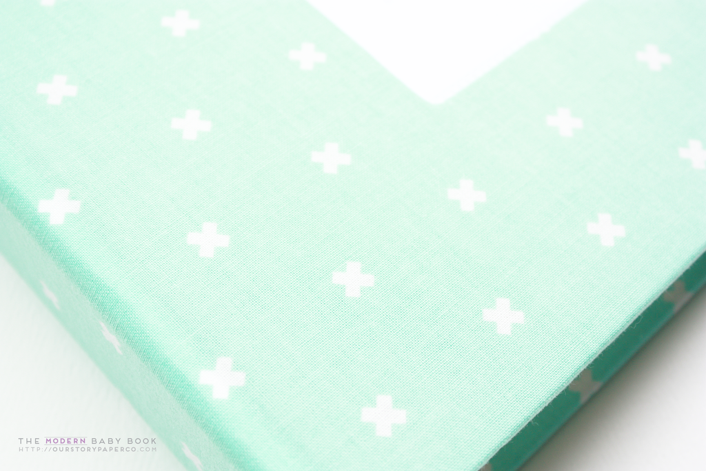 Mint Green Criss Cross  Modern Baby Book