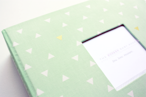Mint Green Gold Triangle Modern Baby Book - Our Story Paper Co.