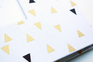 Black and Gold Triangle Modern Baby Book - Our Story Paper Co.