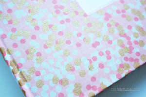 Pink Shimmery Ridge Modern Baby Book - Our Story Paper Co.