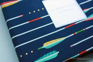 Navy Western Arrow  Modern Baby Book - Our Story Paper Co.