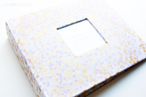 Purple & Lavender Shimmery Ridge Modern Baby Book - Our Story Paper Co.