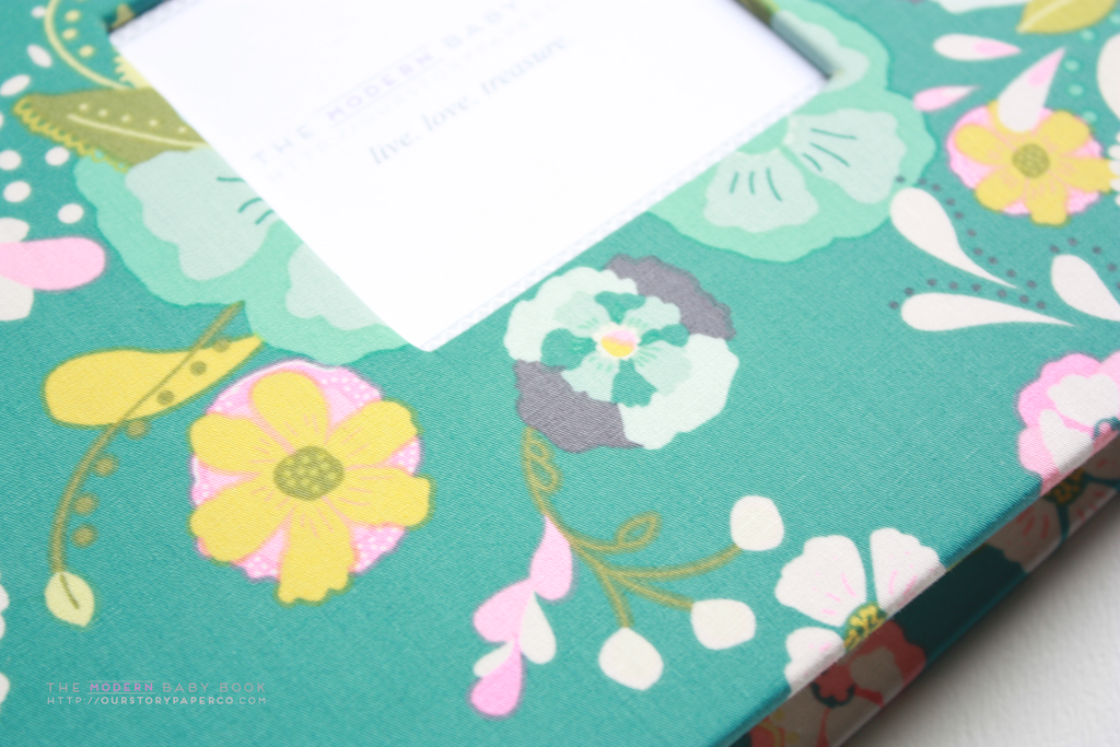 Forest Green Florals Modern Baby Book