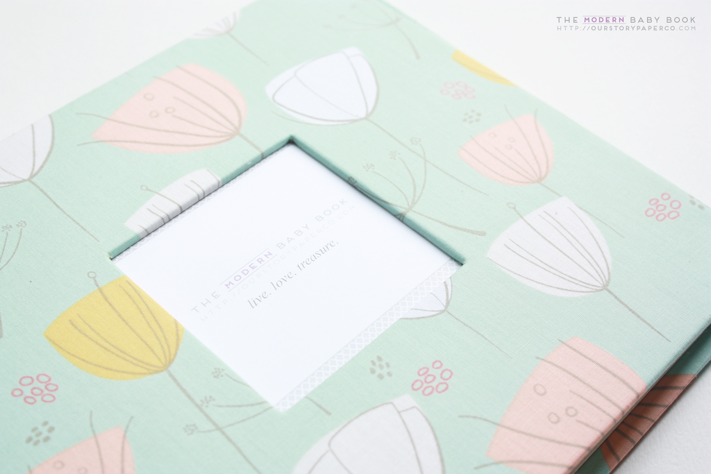 Mint and Coral Whimsical Dandelions Modern Baby Book - Our Story Paper Co.