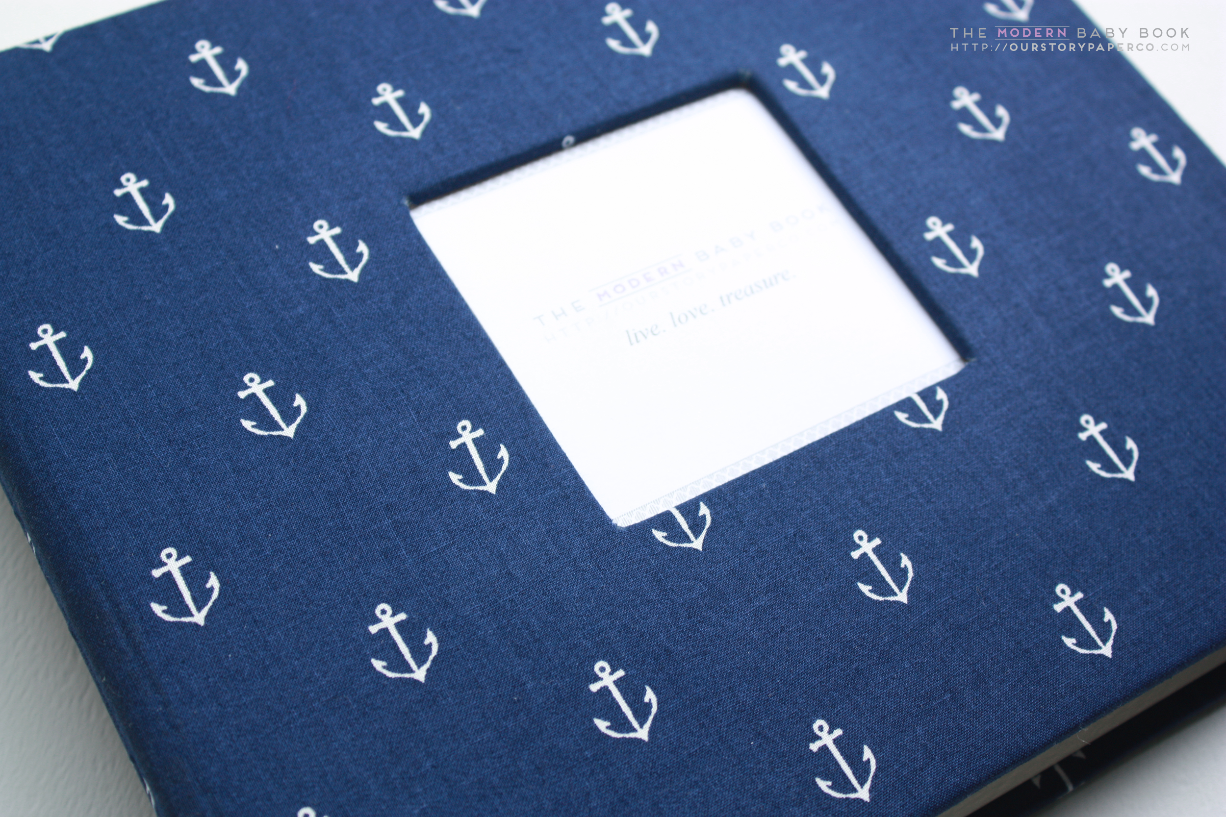 Navy Anchors Modern Baby Book - Our Story Paper Co.