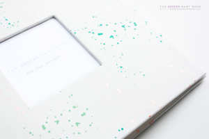 Soft Metallic Splatter Modern Baby Book - Our Story Paper Co.