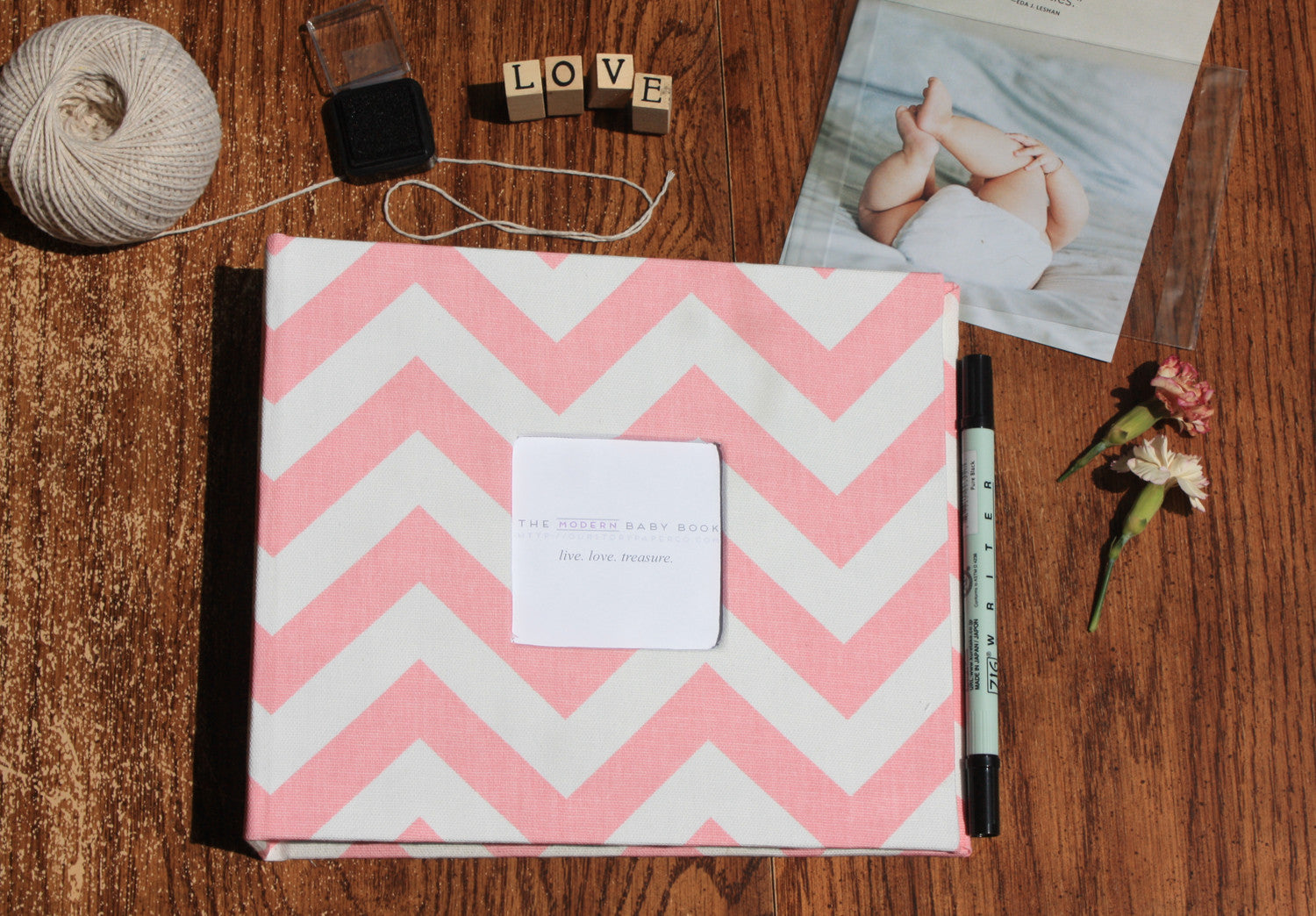 Pink Chevron Modern Baby Book - Our Story Paper Co.
