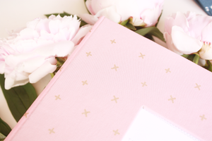 Rose Pink with Gold Criss Cross Modern Baby Book - Our Story Paper Co.
