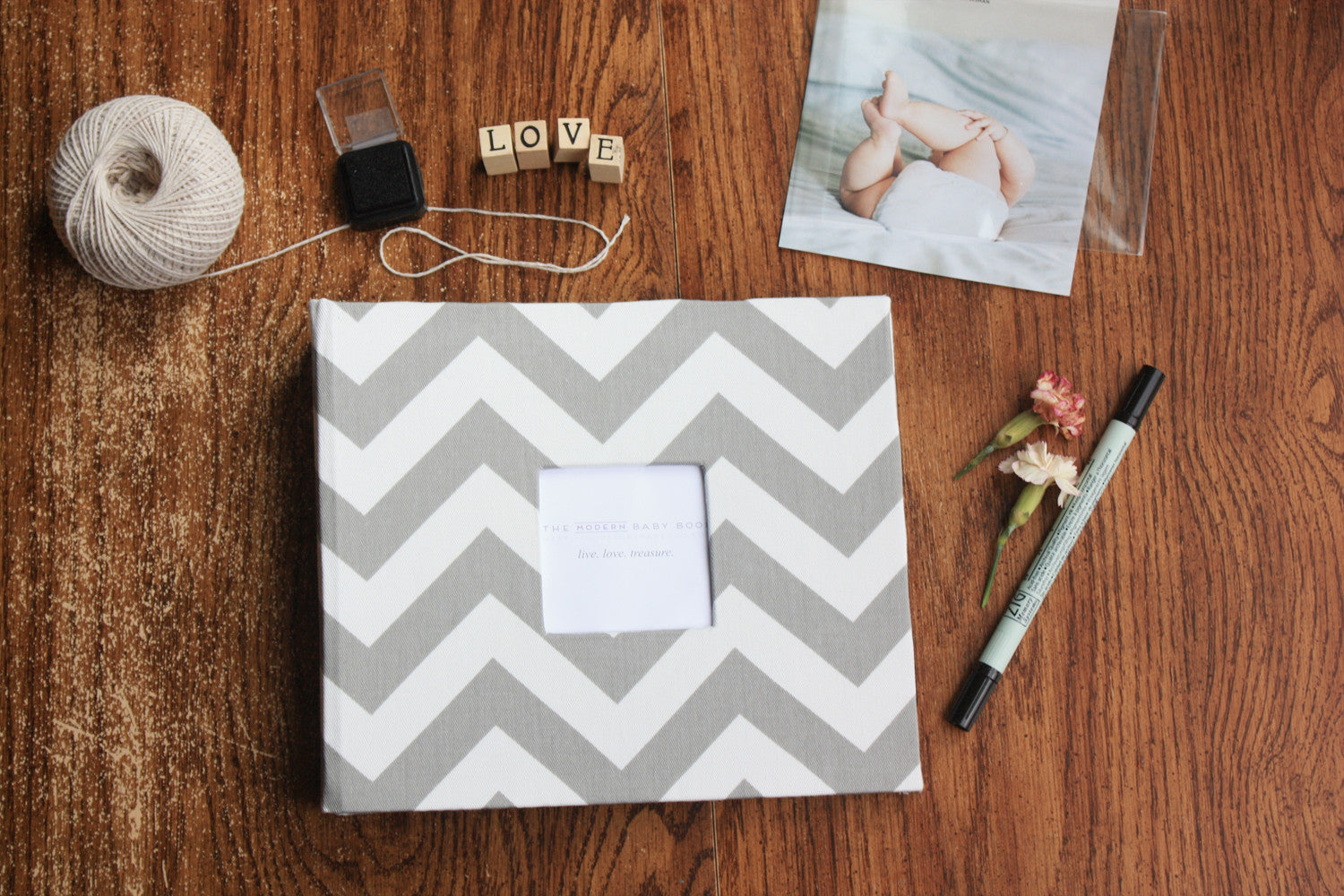 Gray Chevron Modern Baby Book - Our Story Paper Co.