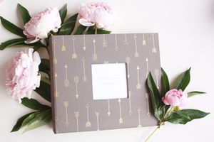 Carbon Gray Gold Arrow Modern Baby Book - Our Story Paper Co.