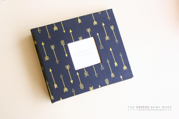 Navy Gold Arrow Modern Baby Book - Our Story Paper Co.