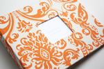 Tagnerine Linen Damask Modern Baby Book - Our Story Paper Co.