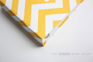 Yellow Chevron Modern Baby Book - Our Story Paper Co.
