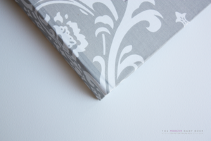 Gray Damask Modern Baby Book - Our Story Paper Co.