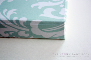 Teal Damask Modern Baby Book - Our Story Paper Co.