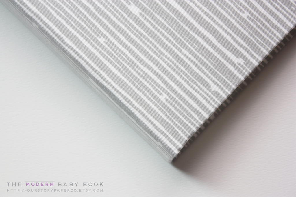 Gray and White Lines Modern Baby Book - Our Story Paper Co.