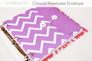 Colored Chevron on White Background Keepsake Envelopes - Our Story Paper Co.
