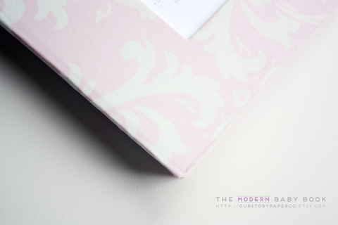 Baby Pink Damask Modern Baby Book - Our Story Paper Co.