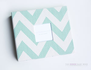 Teal Chevy Chevron Modern Baby Book - Our Story Paper Co.