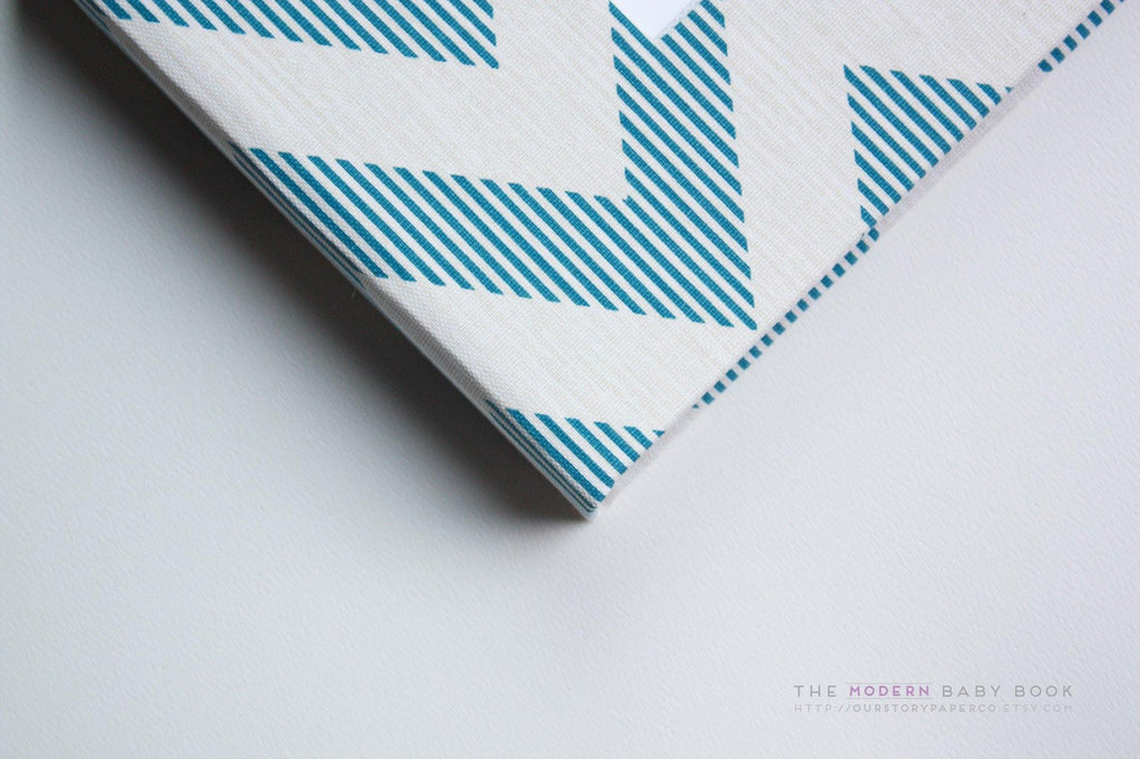 Aqua Beige Chevron Modern Baby Book - Our Story Paper Co.