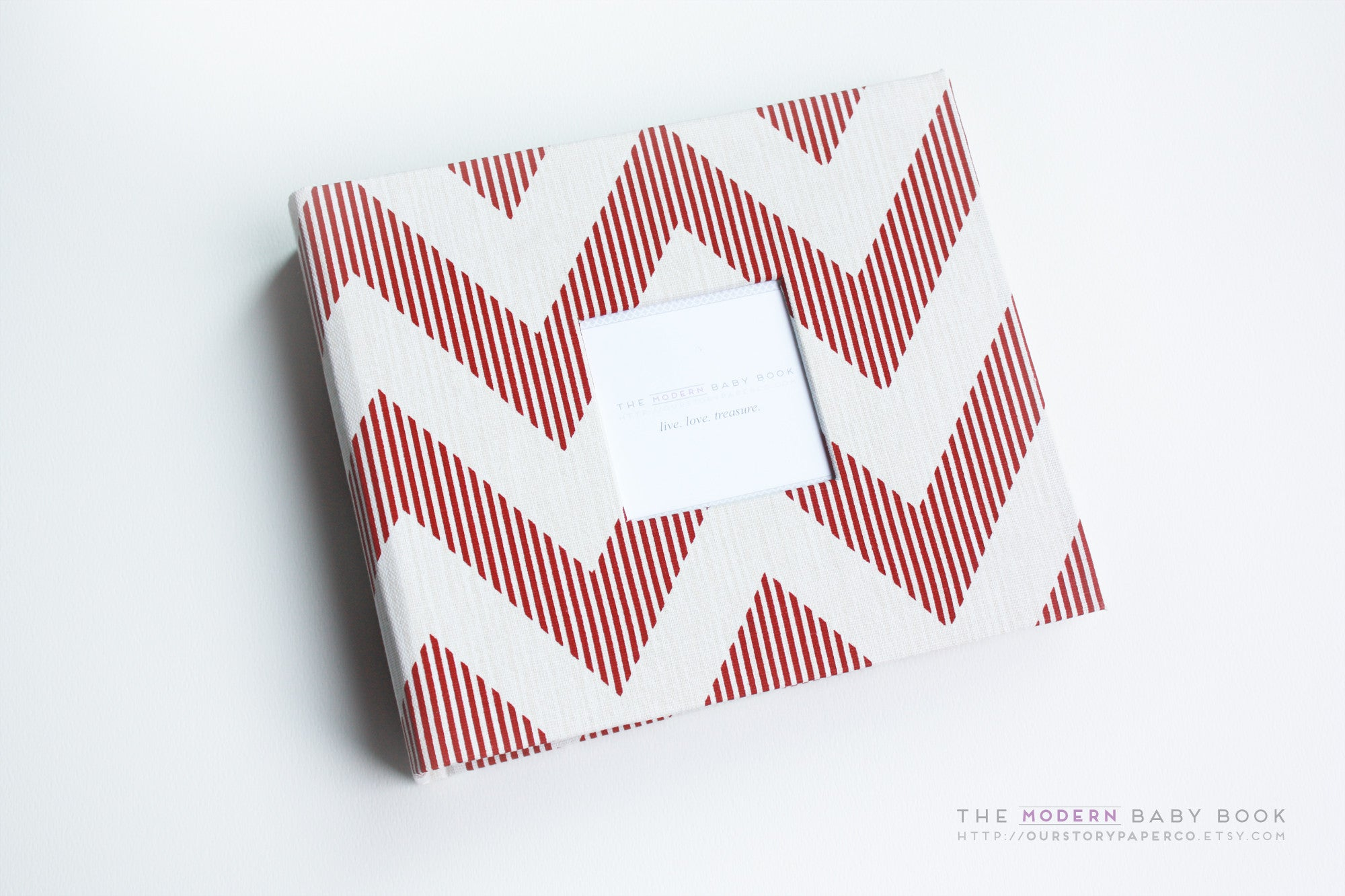 Red Chevy Chevron Modern Baby Book - Our Story Paper Co.