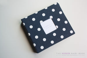 Navy Polka Dot Modern Baby Book - Our Story Paper Co.