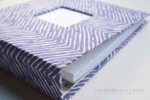Purple Zebra Lines Modern Baby Book - Our Story Paper Co.