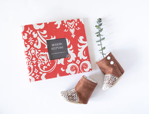 Coral Damask Modern Baby Book - Our Story Paper Co.