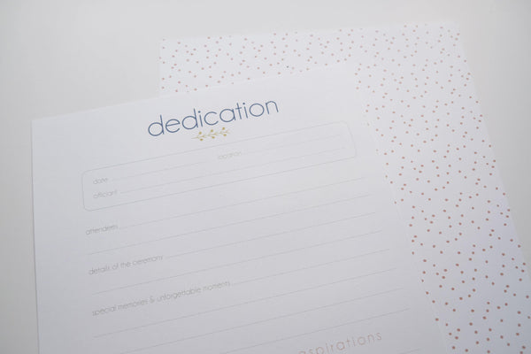 dedication page - Our Story Paper Co.