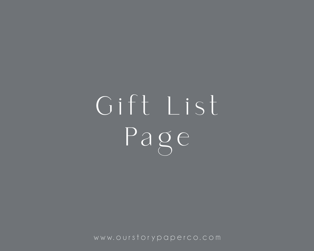 Gift List - Our Story Paper Co.