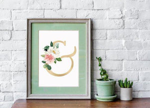 Watercolor Floral Ampersand Nursery Print - Our Story Paper Co.