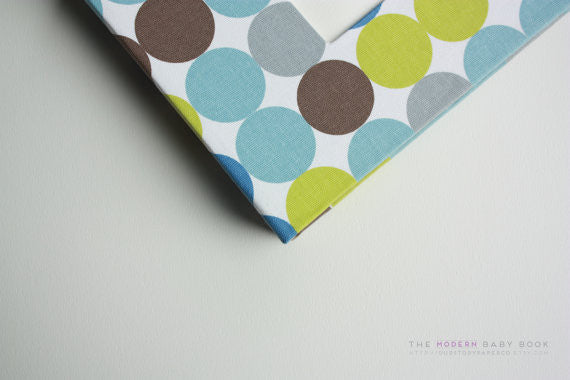 Zoo Polka Dots Blue Modern Baby Book - Our Story Paper Co.