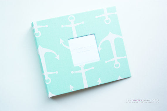 Mint Anchor Modern Baby Book - Our Story Paper Co.