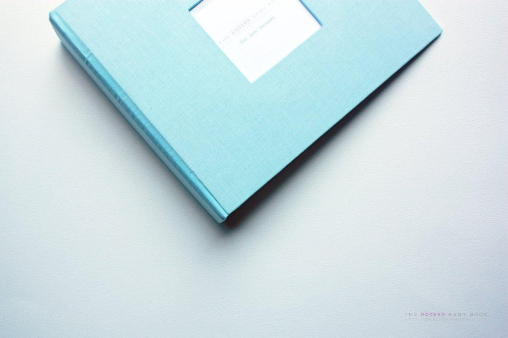 Baby Blue Modern Baby Book - Our Story Paper Co.