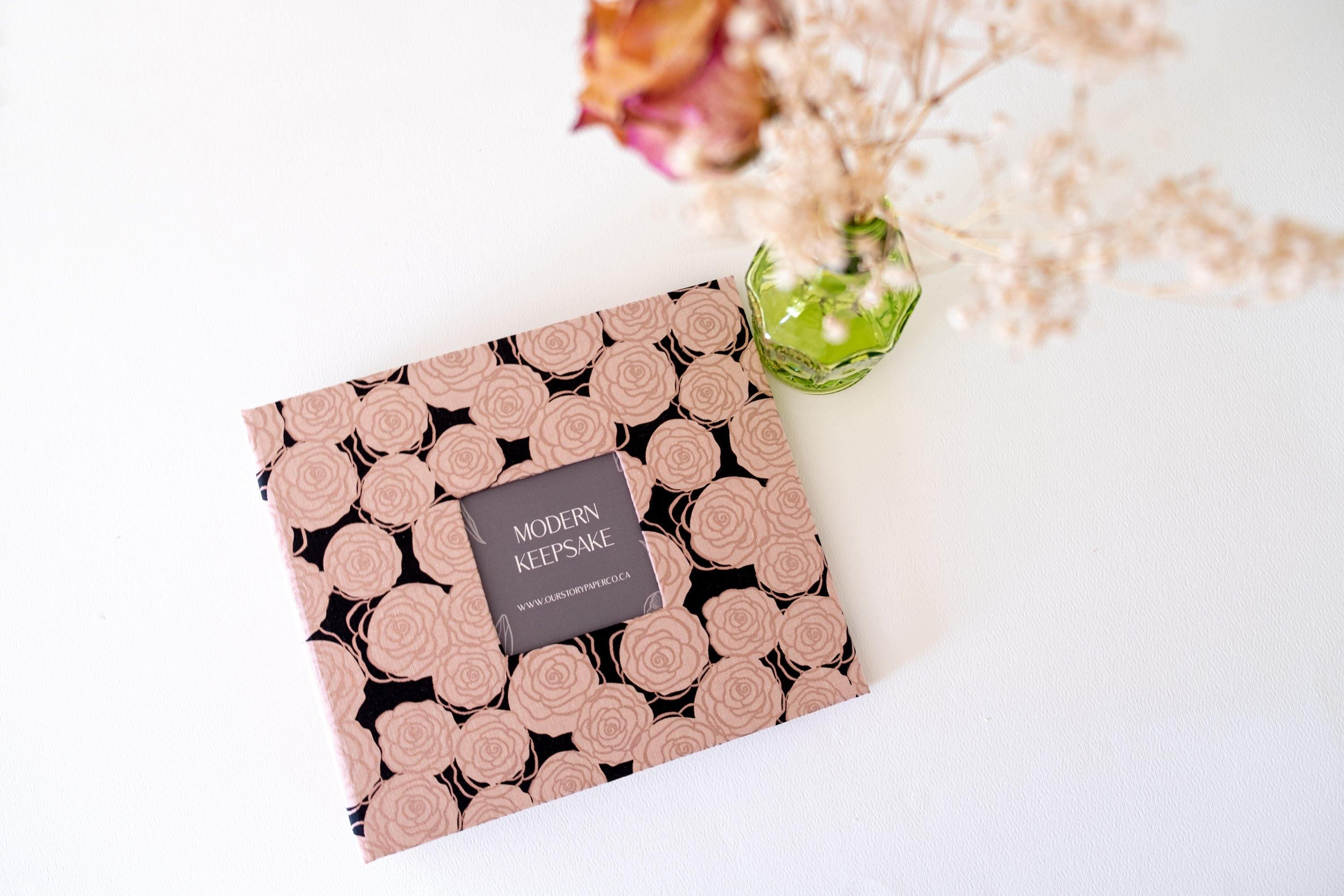 Navy Shimmery Rose Bunch Modern Baby Book - Our Story Paper Co.