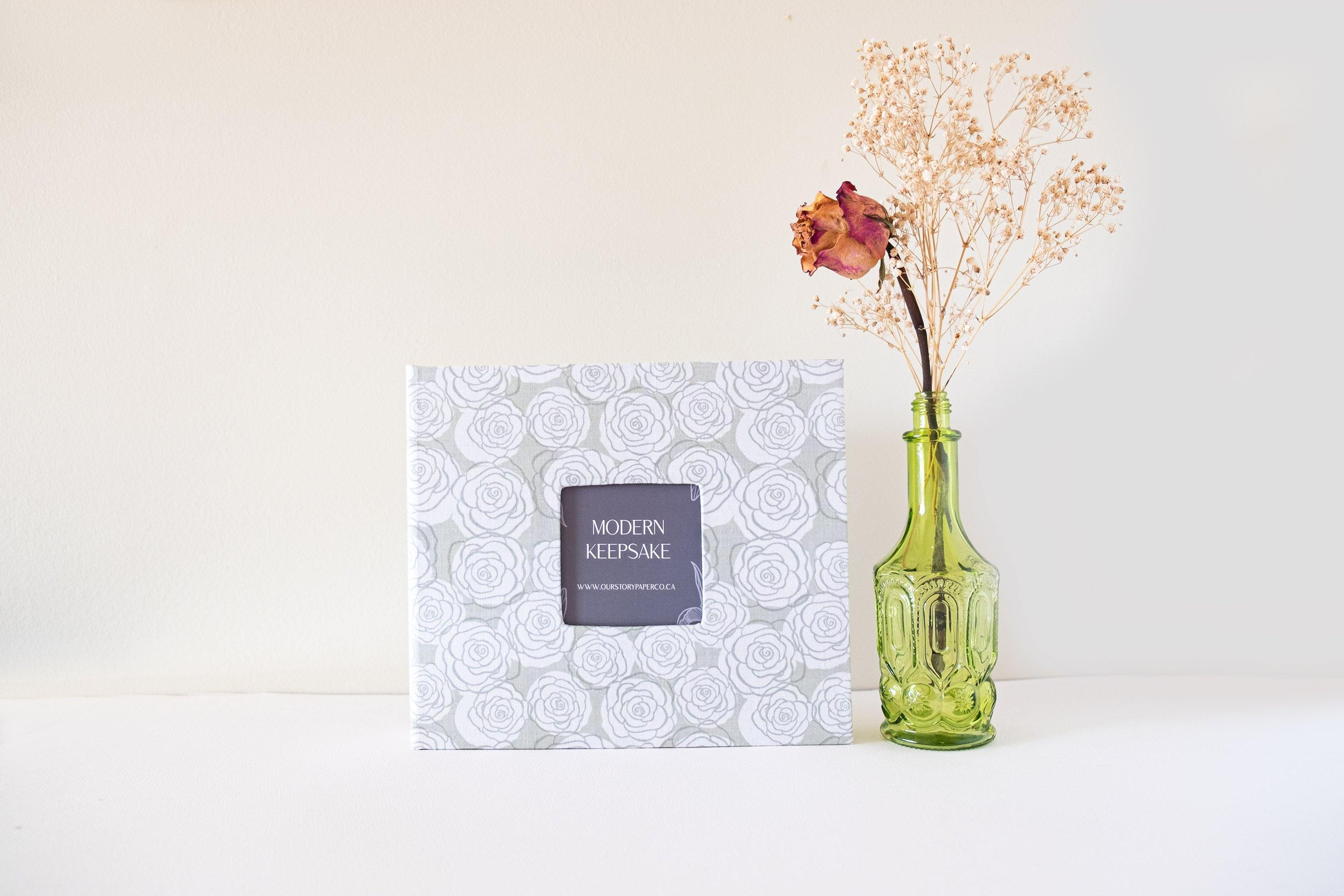 Mint Green Rose Bunch Modern Baby Book - Our Story Paper Co.