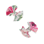 2PK PRINTED BABY FAB CLIPS: pink rose