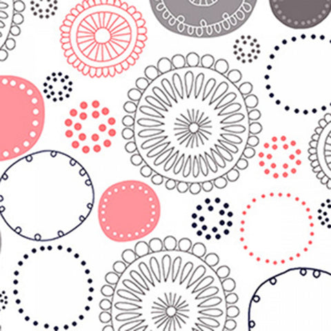 Embrace **Double Gauze**  Whimsy Circles Coral