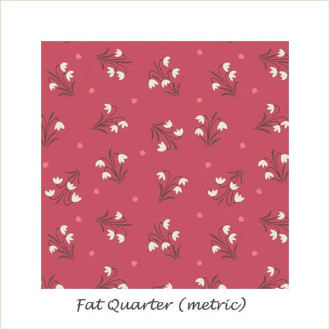 Enchanted Forest 6005/62 Snowdrops on Dusky Red Fat Quarter