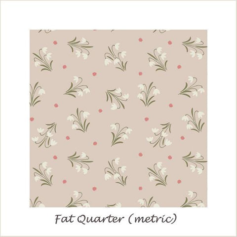 Enchanted Forest 6005/61 Snowdrops on Light Buiscuit Fat Quarter
