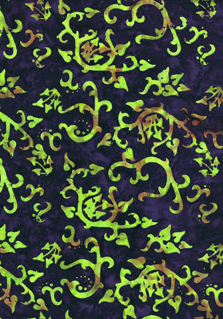 Magical-Garden-Batiks-Mushroom-&-Leaves-Lime-on-Deep-Purple