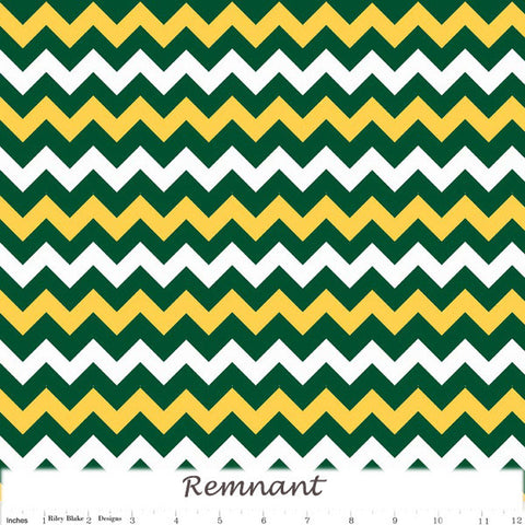 School SmallChevron Green Gold 1 metre cut
