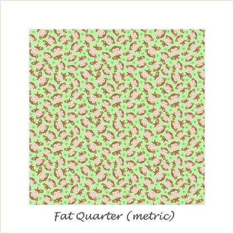Snips & Snails Monkeys Green Fat Quarter