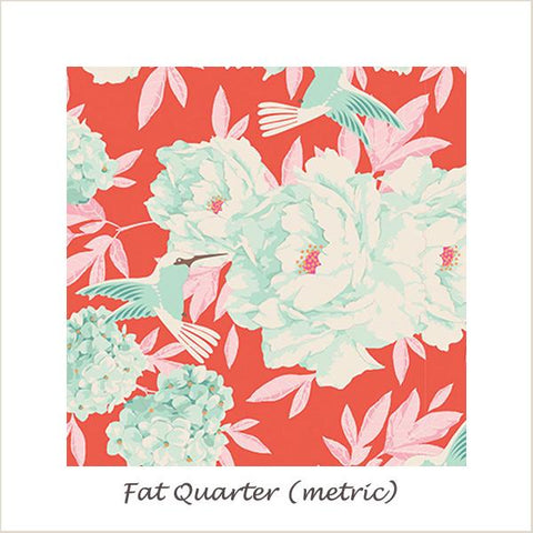 Tilda Lemon Tree Humming Bird Coral Fat Quarter