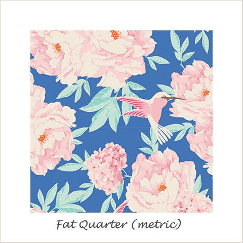 Tilda Lemon Tree Humming Bird Blue Fat Quarter