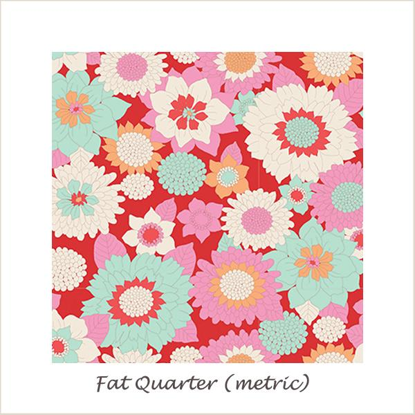 Tilda Lemon Tree Boogie Flower Red Fat Quarter