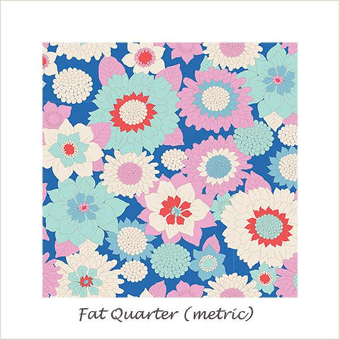 Tilda Lemon Tree Boogie Flower Blue Fat Quarter