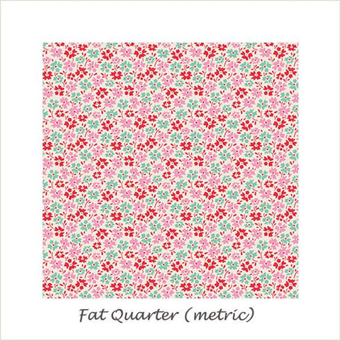 Tilda Lemon Tree Flowerfield Red Fat Quarter